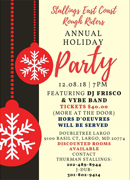 Stallings East Coast Rough Riders Annaul Christmas Party flyer