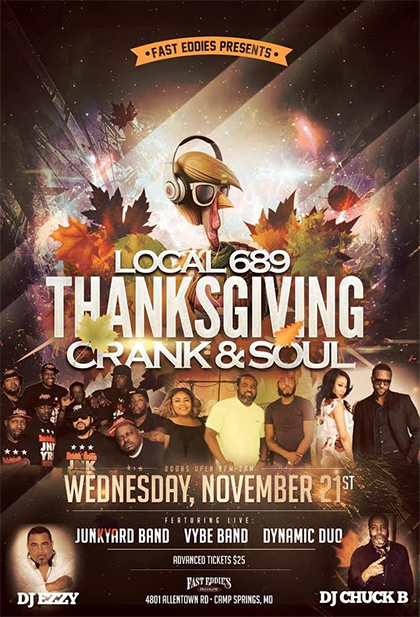 Fast Eddie's Presents Thanksgiving Crank and Soul flyer